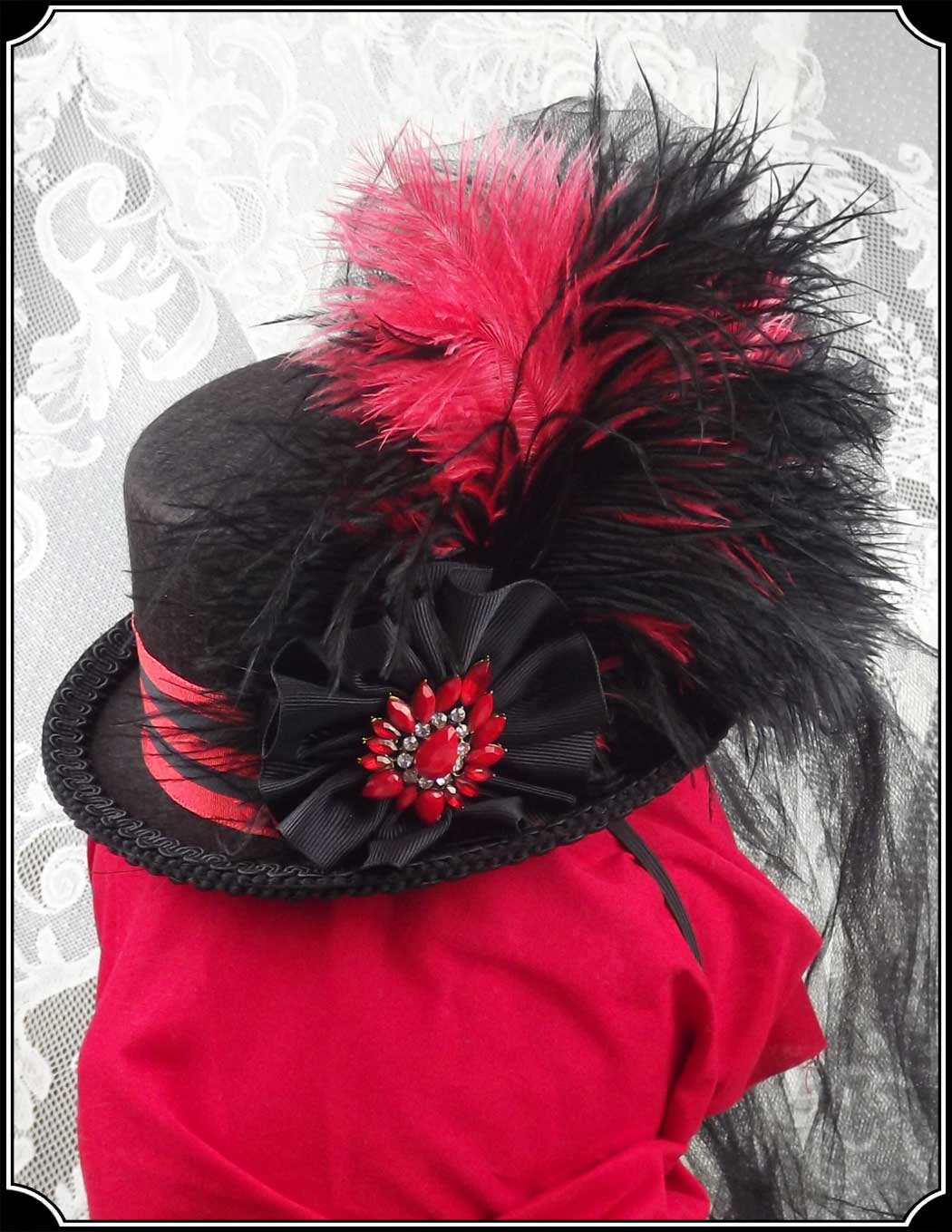 Red and Black Petite or Mini Victorian Top Hat